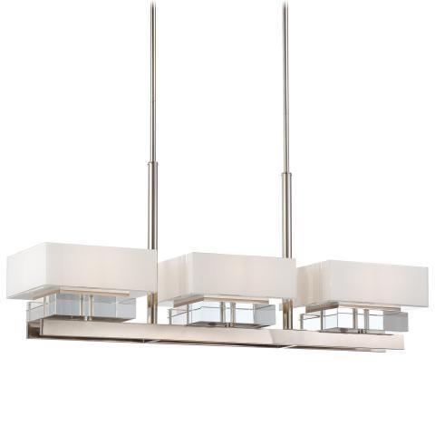 Eden Roe Collection - Six Light Island Light - Six Light Island Light in Polished Nickel Finish w/Mitered Glass White Inside w/Eidolon Krystal™ Accents