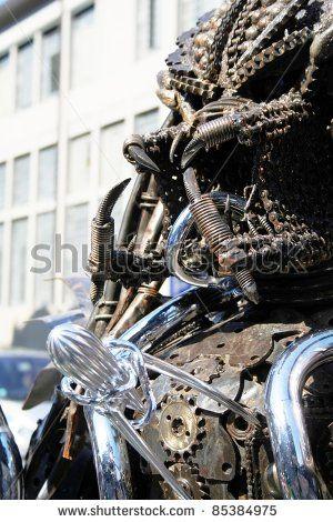 MILAN, ITALY - APRIL 20: Terminator sculpture design at Fuorisalone, fashion and public design festival show April 20, 2009 in Milan, Italy. - stock photo