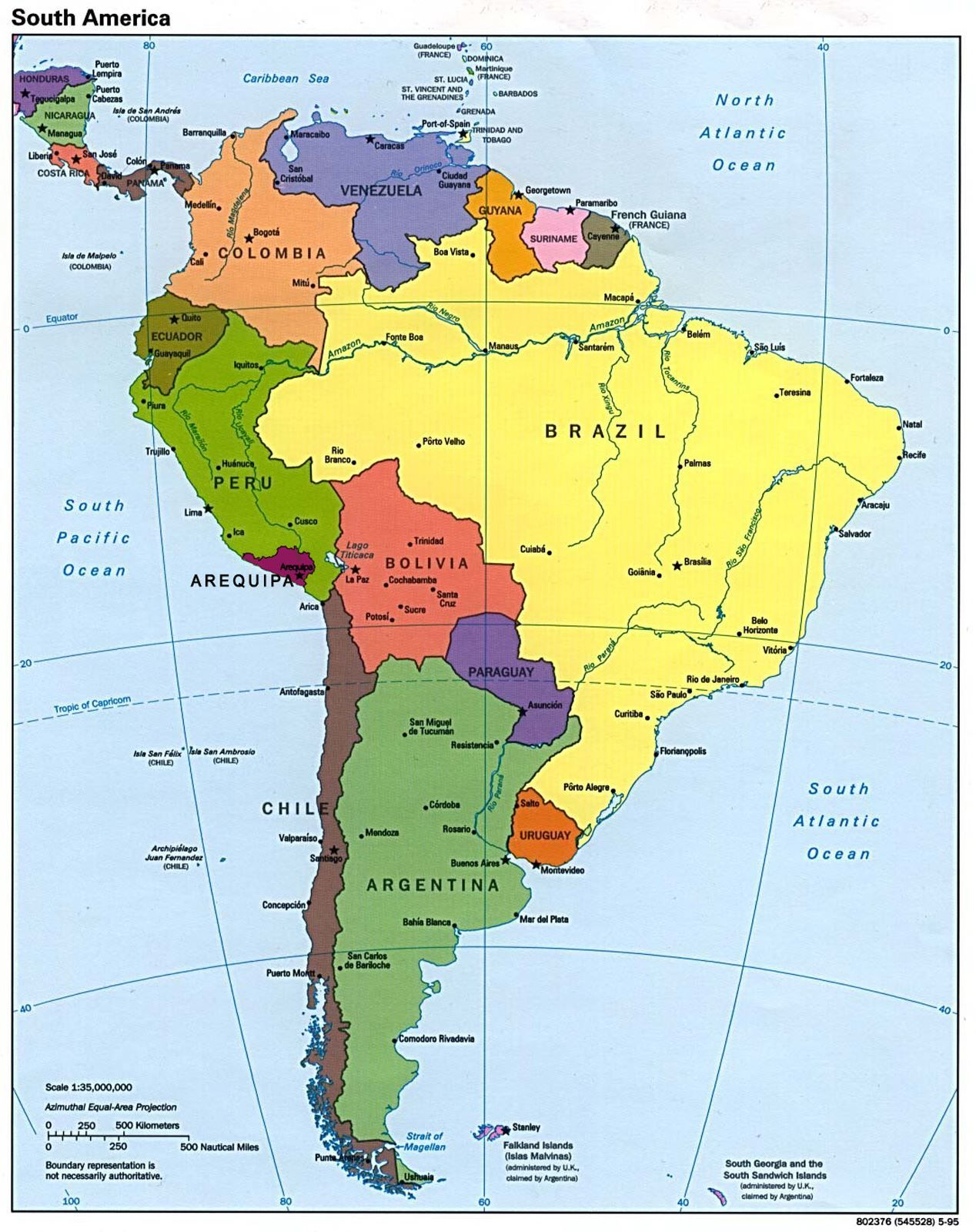 Mapa Geografico De Sudamerica.Nuevo Mapa Politico De America Del Sur Mapa De America Del Sur Mapa De America Mapa De America Latina