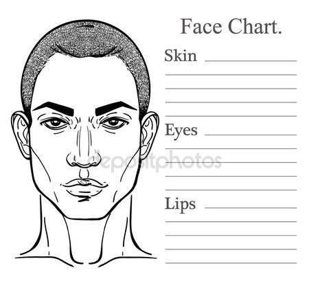 Download - Male face chart make up artist blank u2014 Stock - blank t chart