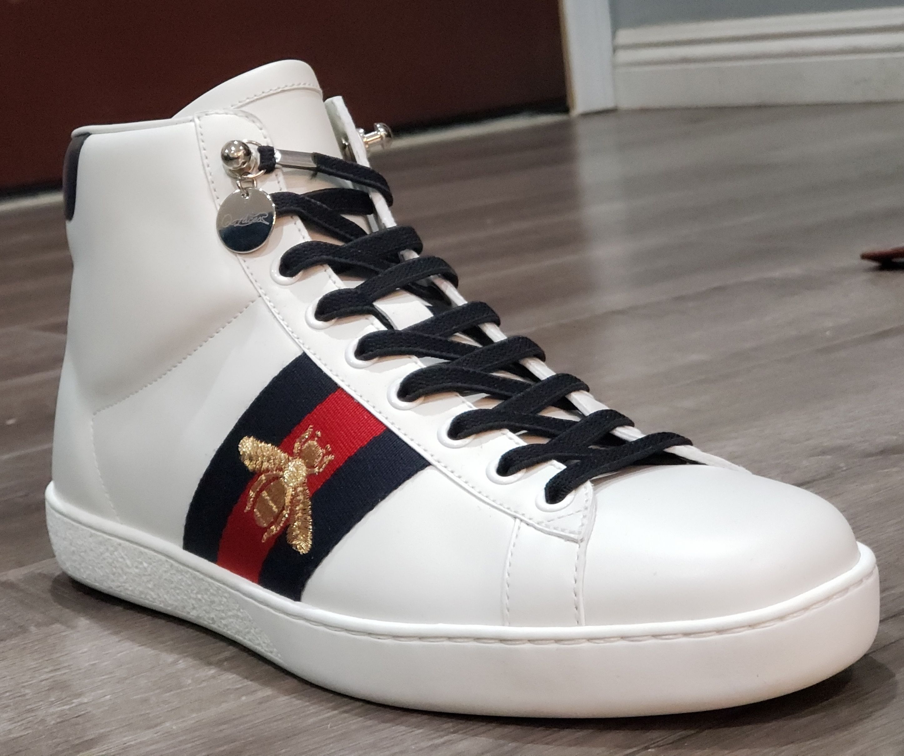 db223fa93 No Tie Shoelaces on Gucci High Top Sneaker for Men | No Tie ...