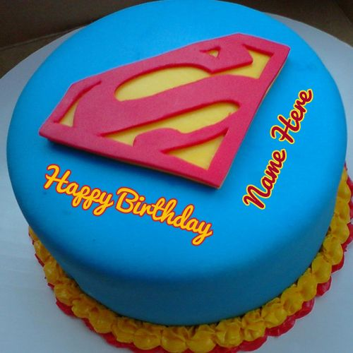 Superman Birthday Wishes Designer Cake With Your Name Brithday