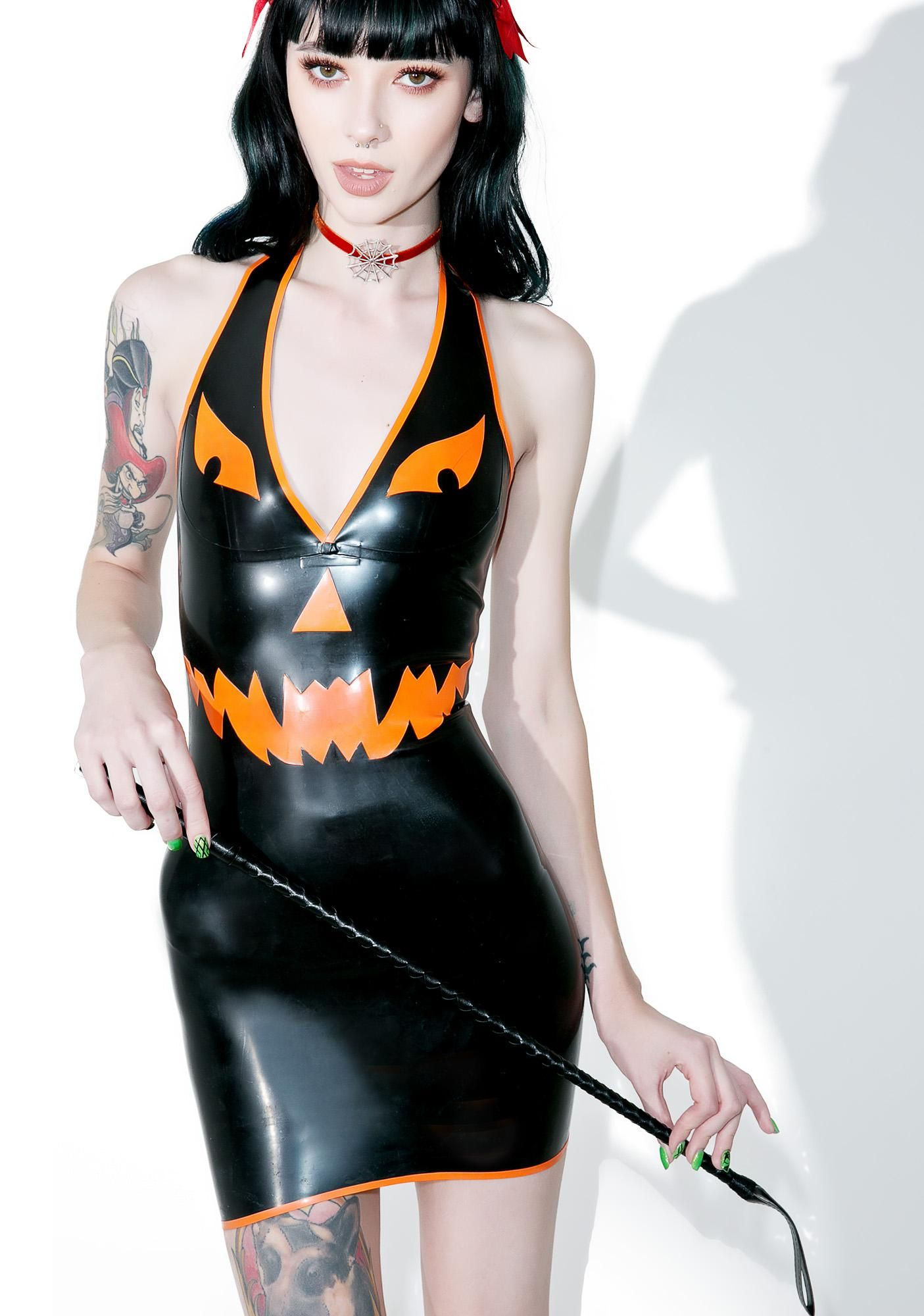 0ffdc097a41 Jane Doe Latex Pumpkin Halter Neck Mini Dress ...we luvv seein  a ...