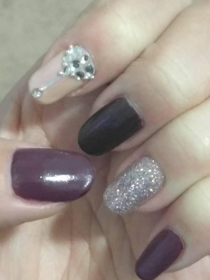 nov 2016 - maroon glitter & rhinestone nail [playing around with new ...