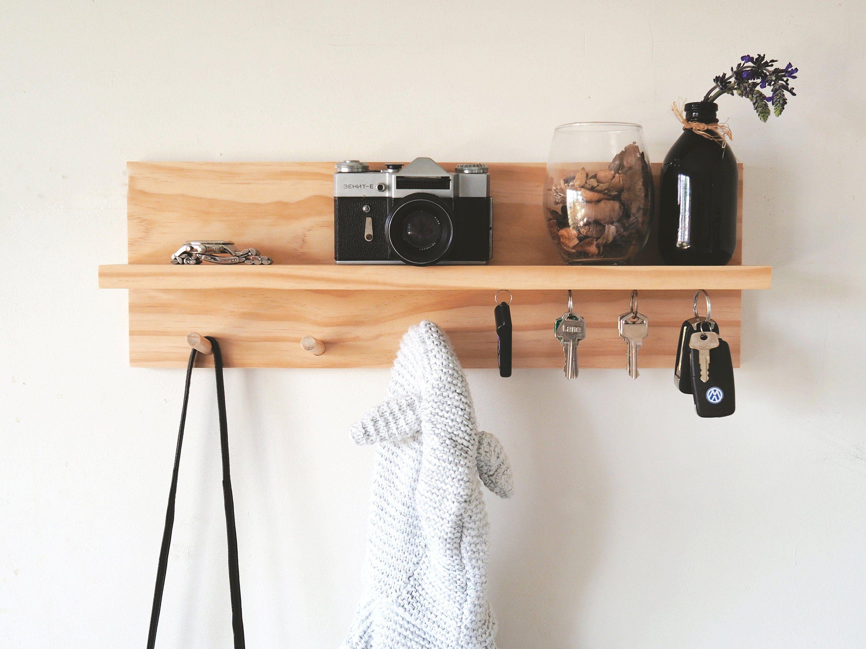 Photo of Entryway organiser (Pine) –  Wood Entryway Hooks, Peg Rack, Peg Rail, Pine Wooden Shelf, Wall Mount shelf, magnetic key holder, Scandinavian