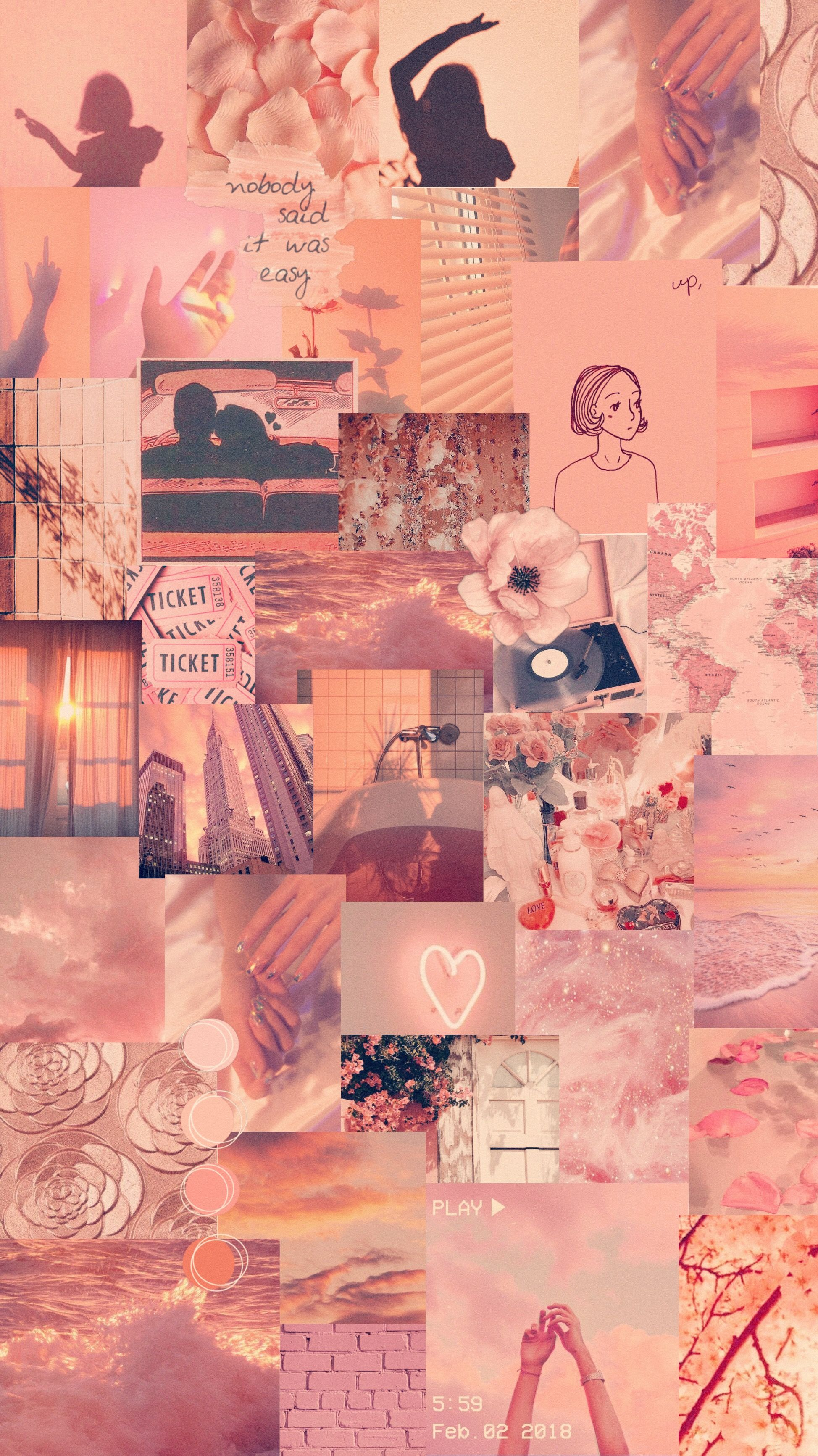 peach retro pink collage aesthetic rosegold travel