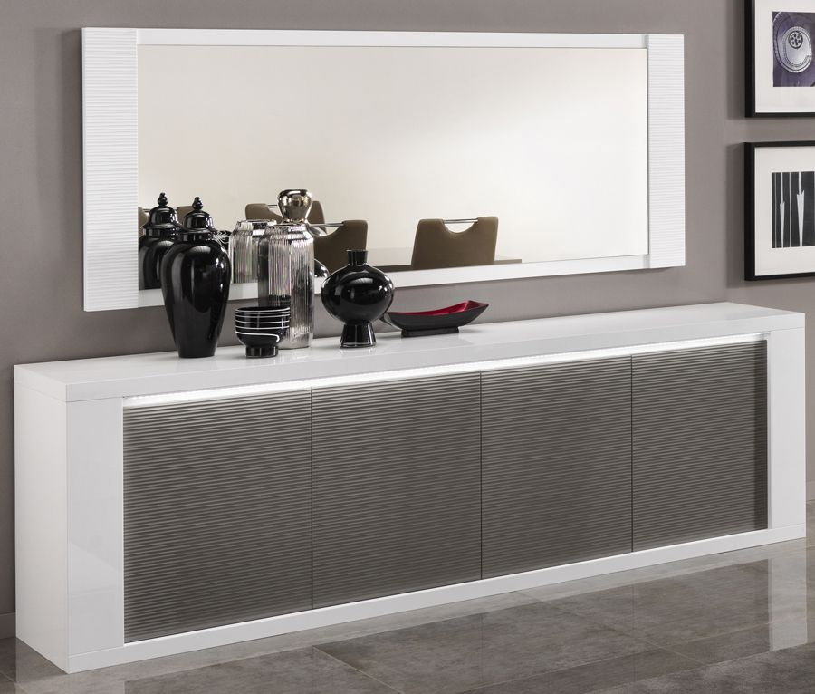 Grand bahut 4 portes blanc et gris laqué design ATHENA ...