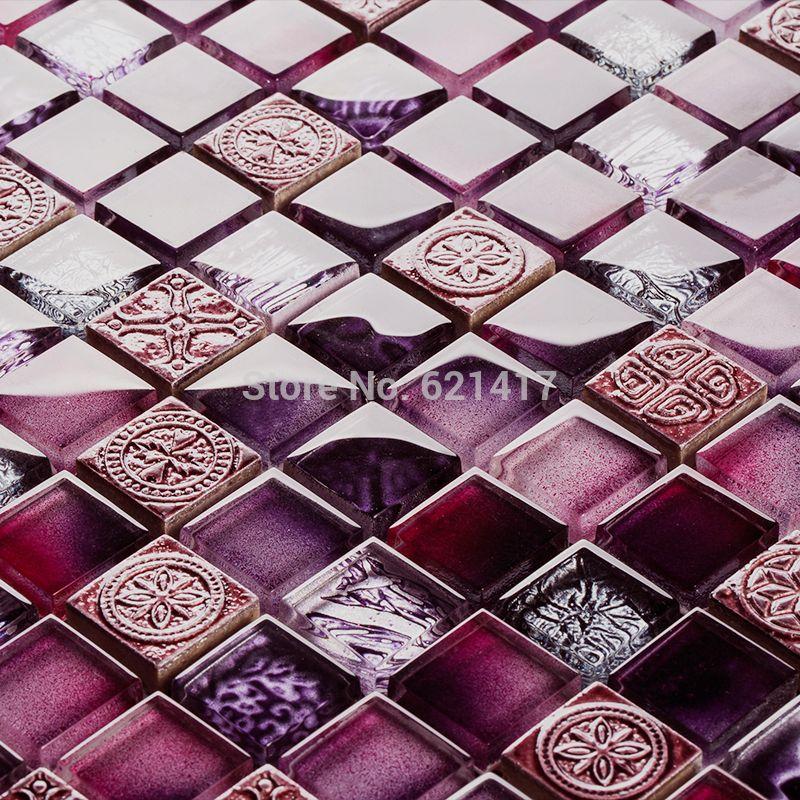 Günstige Lila Farbe Glasmosaik Küche Backsplash Mosaik Bad Dusche  Schlafzimmer Wand Esszimmer Backsplash, Kaufe Qualität