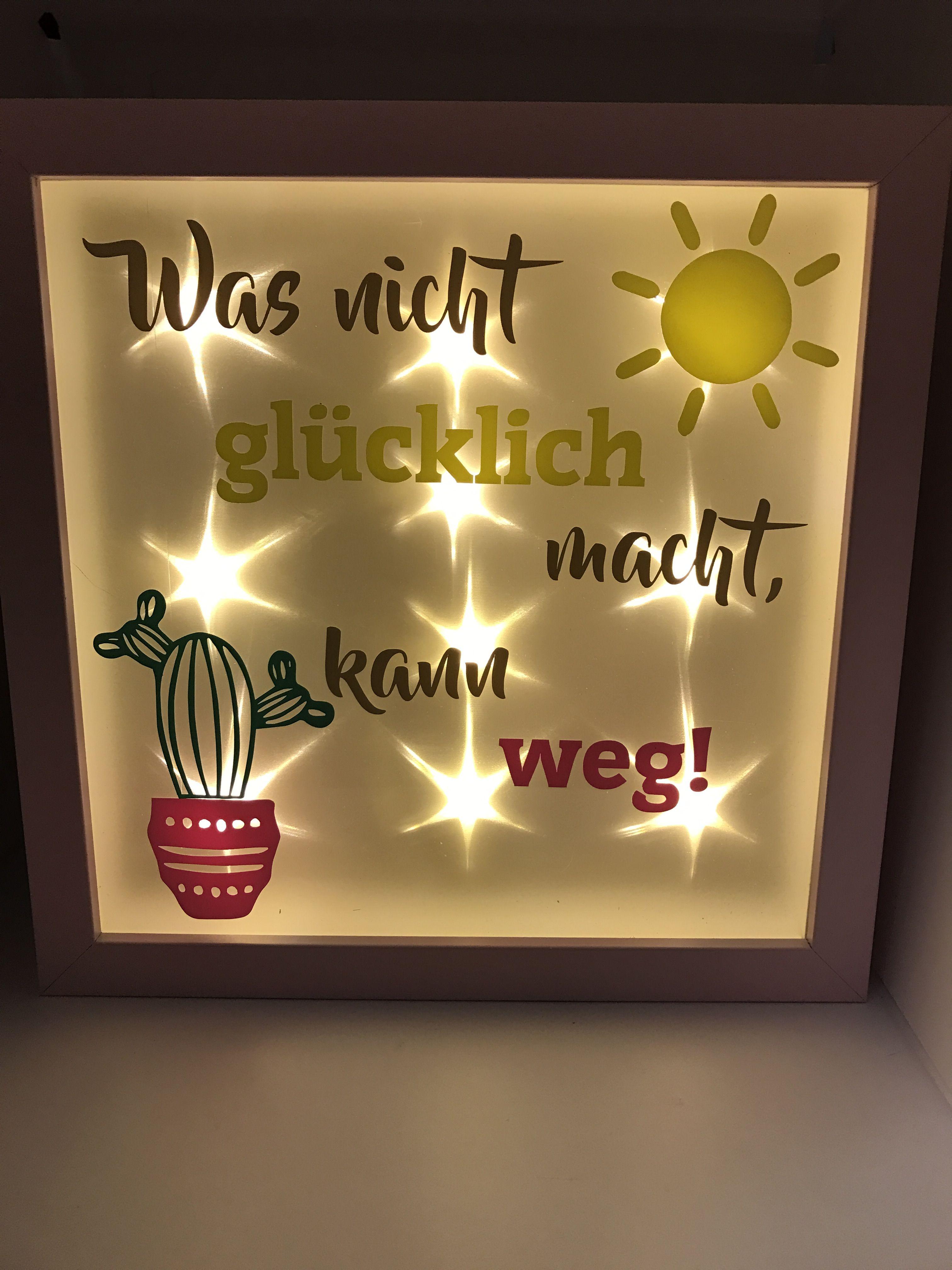 Beleuchteter Bilderrahmen 3D Rahmen Frame Kaktus Spruch Sonne Bunt ...