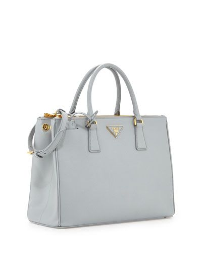 Prada Saffiano Lux Double-Zip Tote Bag, Light Gray (Granito ... 384396937a