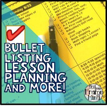 Editable Teacher Binder 2017-2018 Bullet Lesson Planning Template - classroom list template