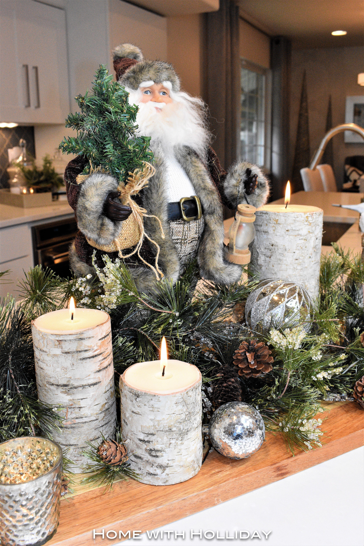 Rustic Winter Christmas Centerpiece with Santa - Home with Holliday  #christmasdecor #christmasdecorating #christmas