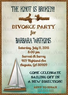 Party Invitation Divorce Party Invitation Single Again Invite by