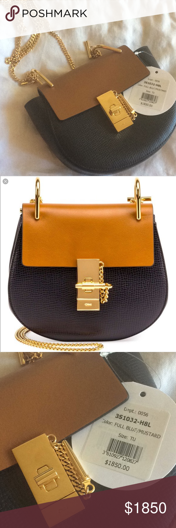 Chloe Drew Mini Grained Leather Shoulder bag blue