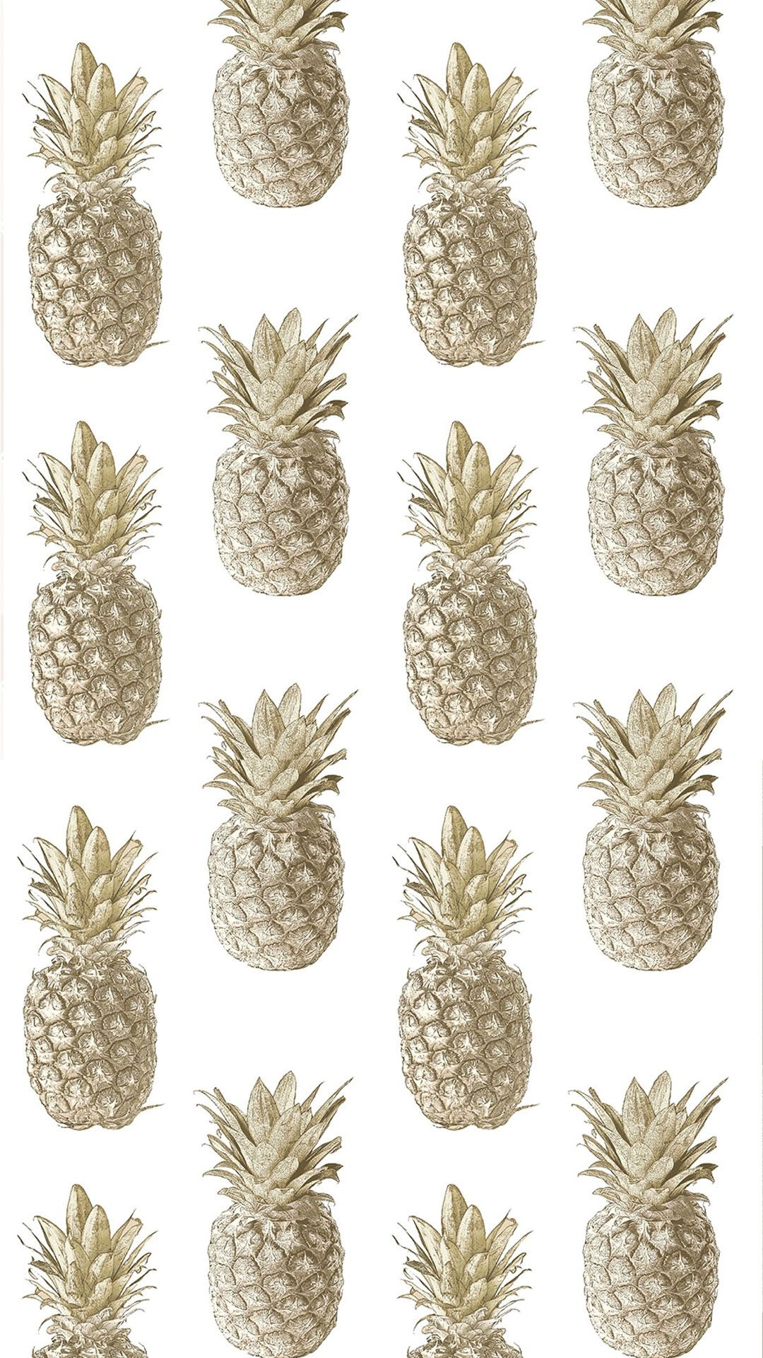 Calypso Pineapples Motif Wallpaper Cream Gold Wallpaper