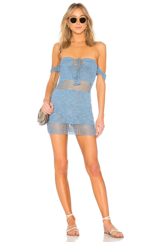 Folk dress in dusty blue