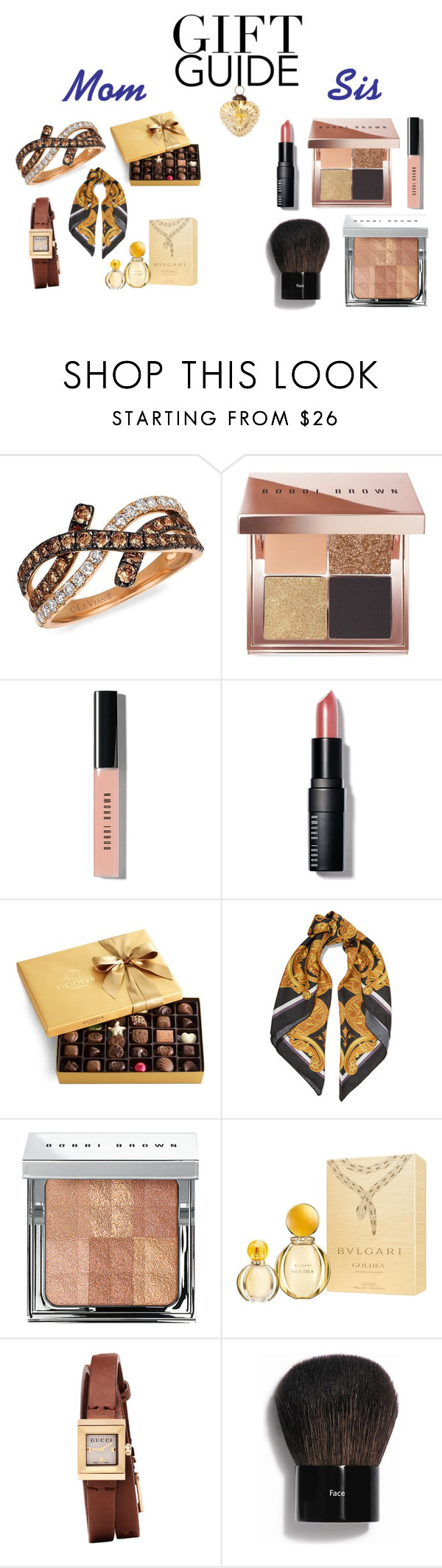 """""""Gift Guide: Your Mom and Sis"""" by ange-12 ❤ liked on Polyvore featuring LeVian, Bobbi Brown Cosmetics, Godiva, Versace, Bulgari, Gucci, Cultural Intrigue and giftguide"""