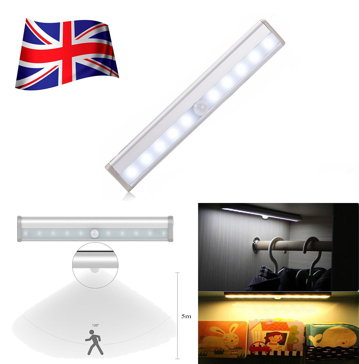 led motion activated cordless sensor led light indoor closet