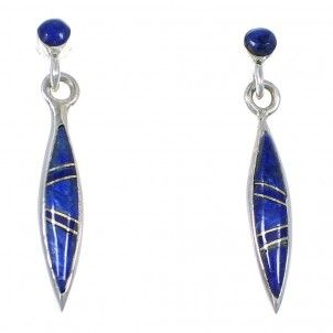 Southwest Silver And Lapis Inlay Post Dangle Earrings WX57751