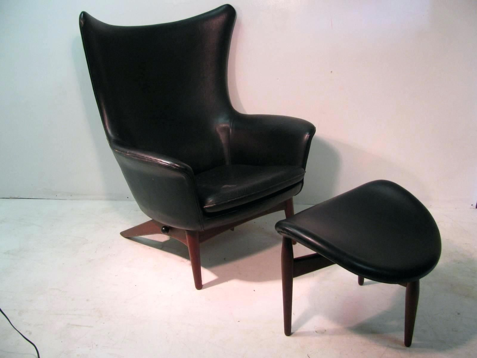 Leather Chair And Ottoman Reclining Leather Chair Ottoman Danish H W Mid Century Modern