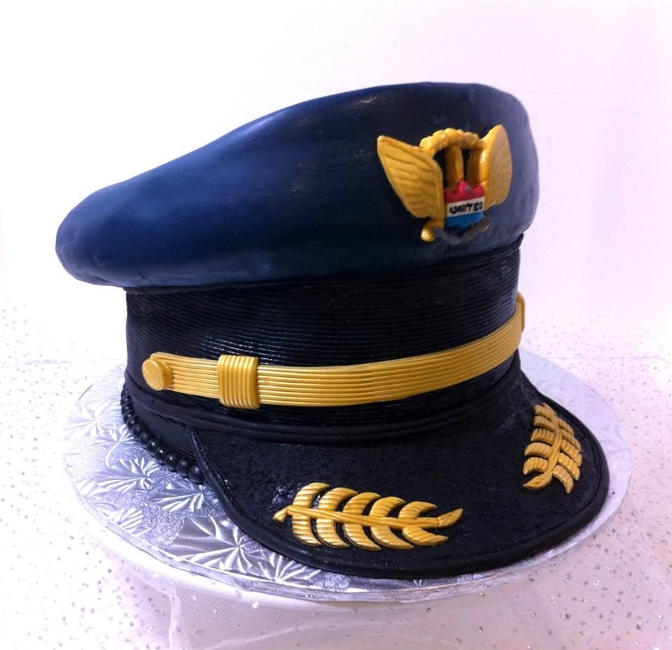 Captain airplane pilot hat type theme cake airplane cake