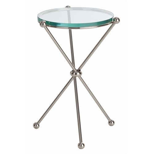 Chloe Polished Nickel/Glass Accent Table