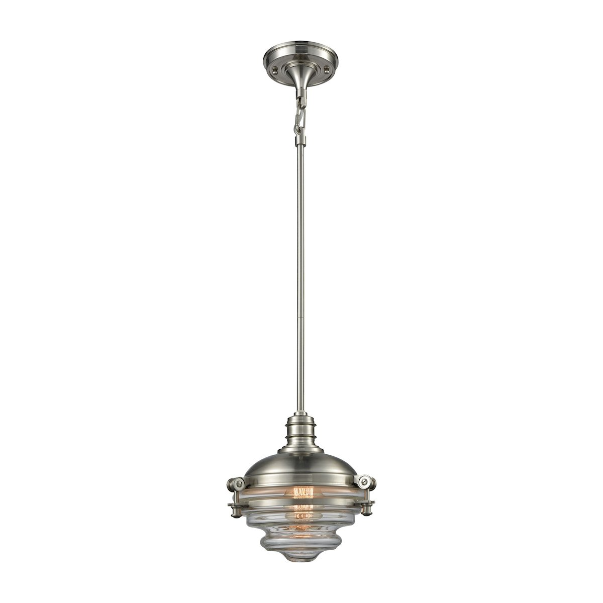 riley 1 light pendant in satin nickel with clear glass by elk