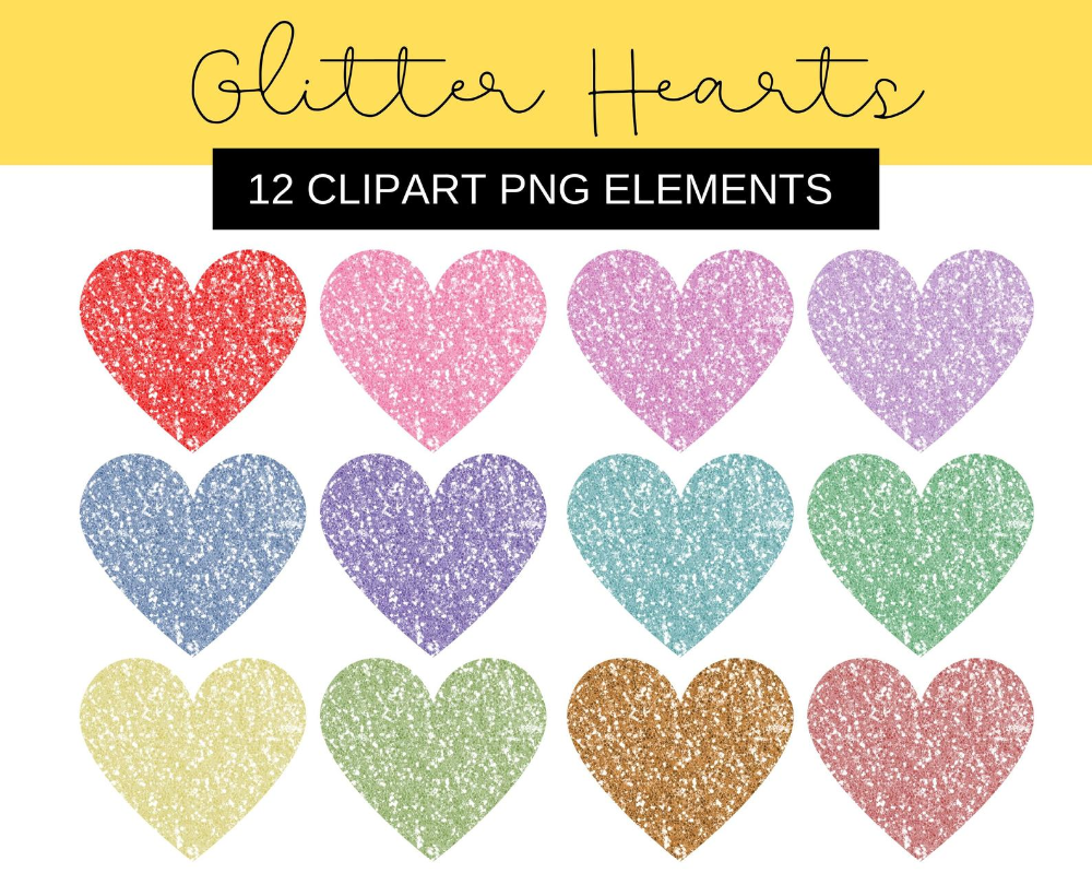 12 Glitter Heart Clipart Png Files Pink Blue Green Gold Red Glitter Love Hearts Wedding Children Birthday Invitation Commercial Use Glitter Hearts Clip Art Red Glitter