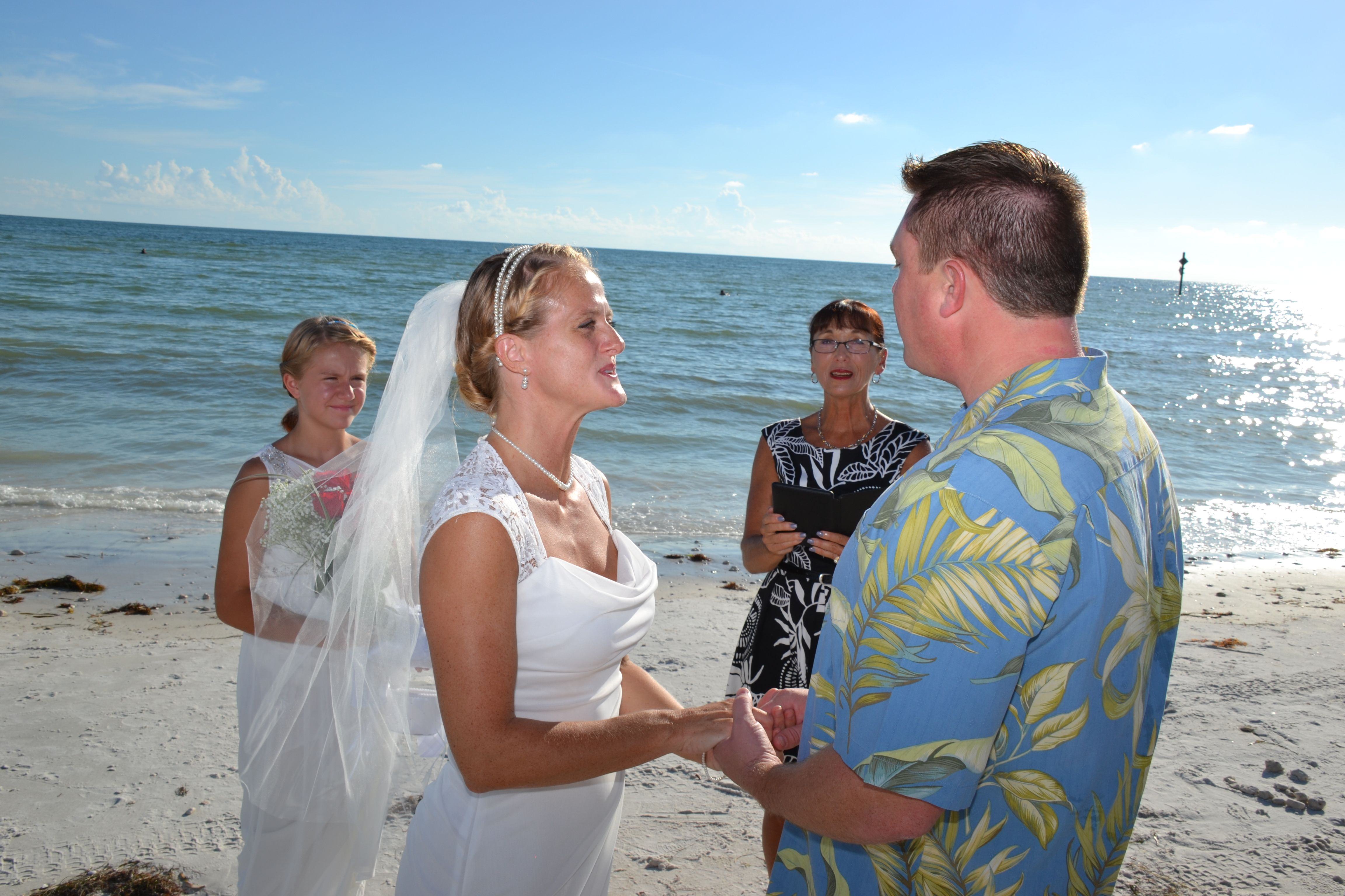 Honeymoon Island Beach Wedding Beautiful Sunny Day Non Denominational Ceremony Elopement Destination