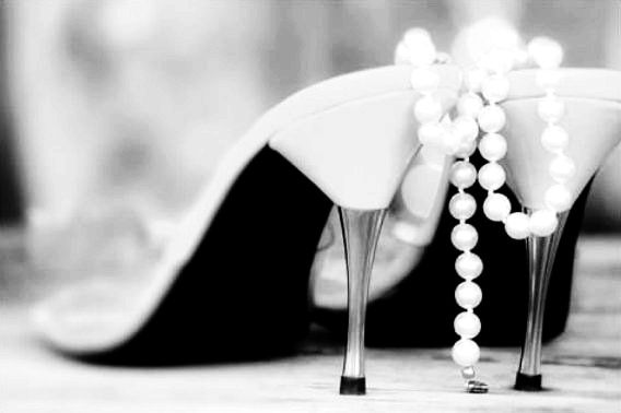 Feminine Photography Still Life Heels And Pearls Print Black White