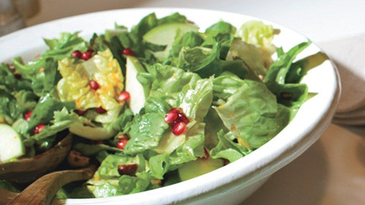 Escarole and Butter Lettuce Salad with Pomegranate Seeds ...