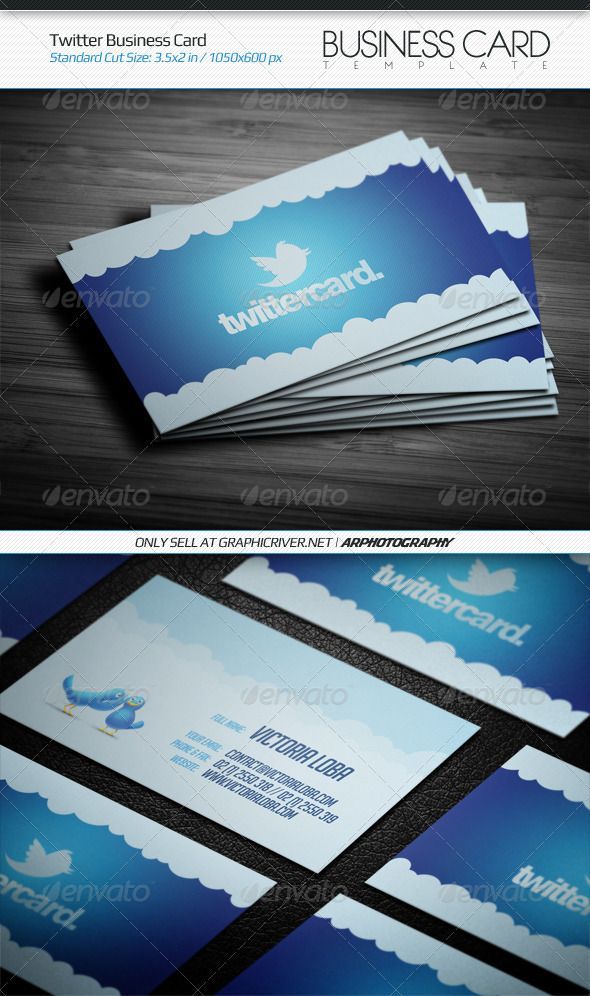 Twitter Business Card | Business cards, Card templates and Template
