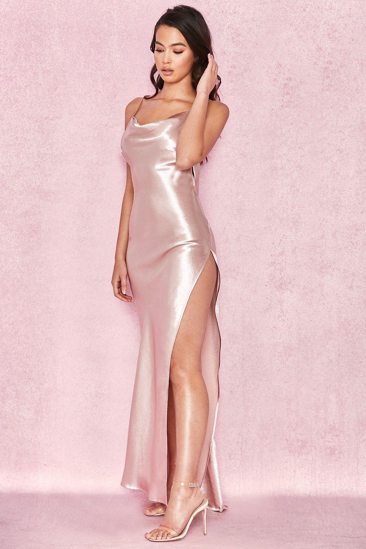 Clothing : Max Dresses : \'Tomasa\' Champagne Satin Draped Maxi Dress ...