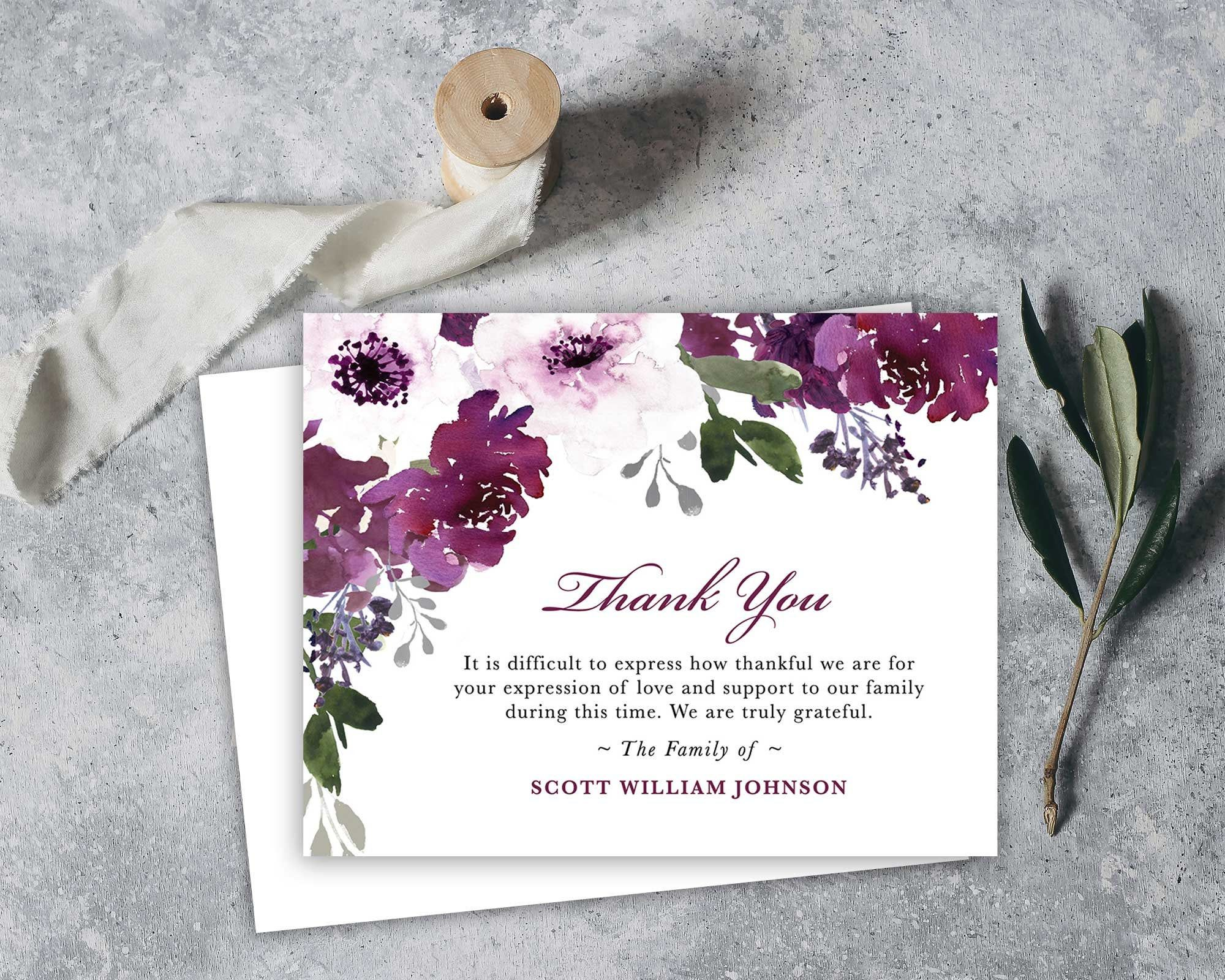 Funeral Thank You Cards Printable Funeral Thank You Notes