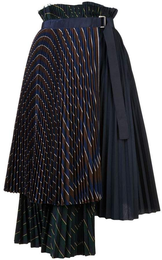 c41d3cc7f Sacai layered pleated midi skirt   Korean Style in 2019   Midi skirt ...