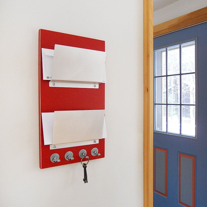 lollipop modern red mail organizer wall mount hanging home office dorm studio apartment decor key rack hooks made in maine minimal chic