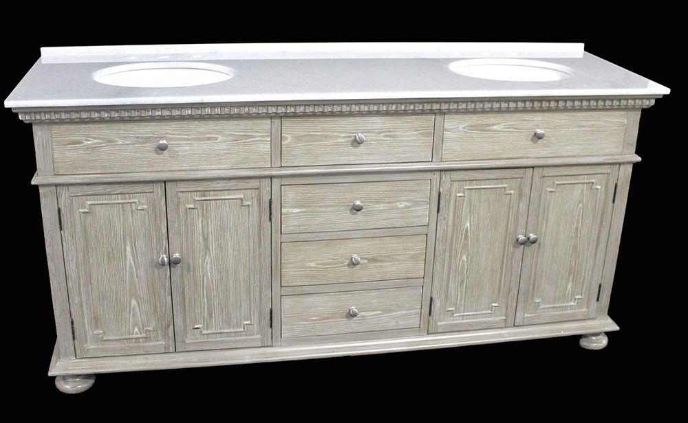 Holbrook (double) 72 Inch Transitional Bathroom Vanity   Whitewash