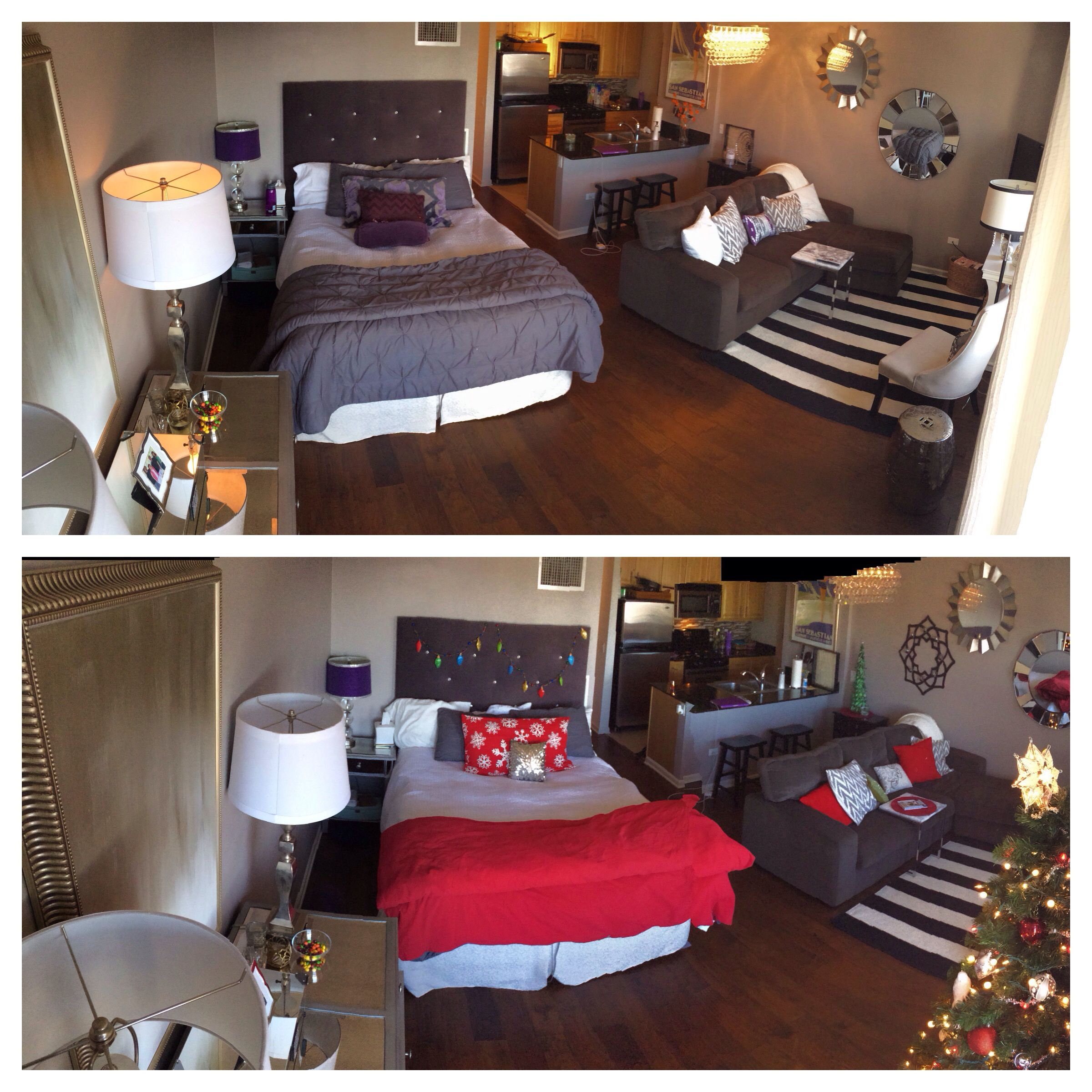 Before and after christmas decorating in a small studio for Studio apartment decor