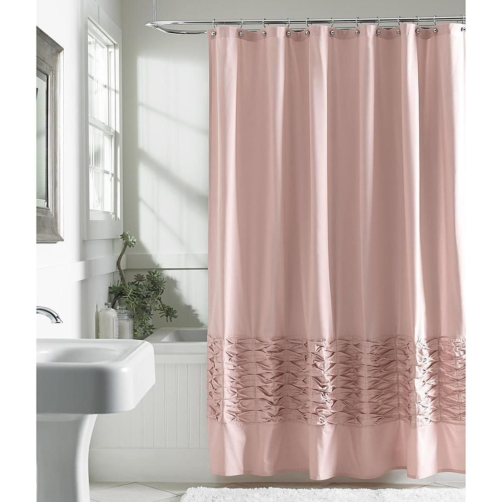 100 Cotton Fabric Bath Tub Shower Curtain Blush Mauve Rose Pink W