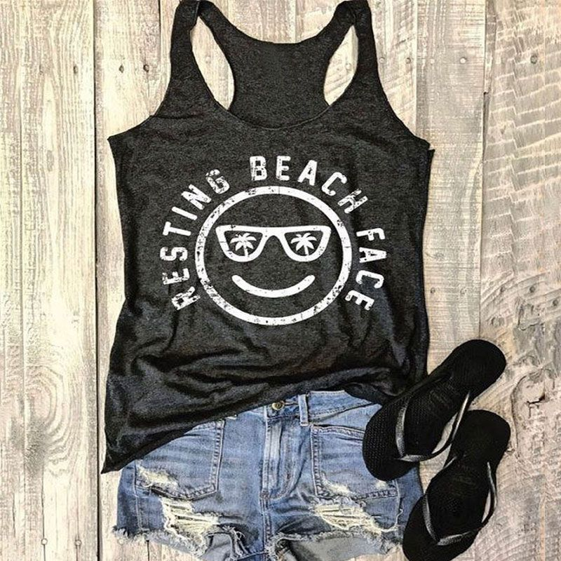 7.78US $ |Tank Tops Fashion Women Tank Resting Beach Face Smile O Neck 2018 Summer Casual Female Sleeveless Black Vest Ladies Tops|vest ladies|women tankblack vest top - AliExpress