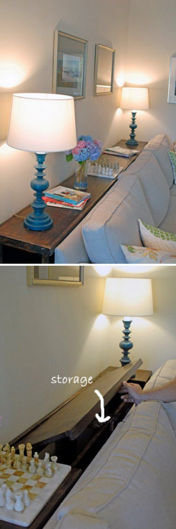 Place a Little Console Table with Storage Behind Your Couch so You ...