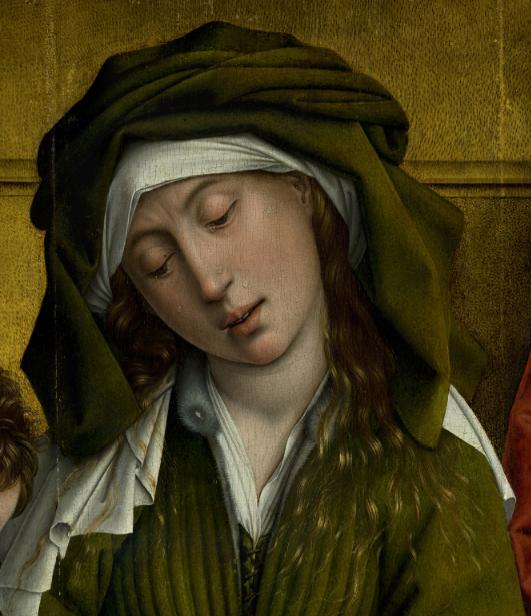 Rogier van der Weyden.  The Descent from the Cross, detail - Mary Salome.  c. 1435-8