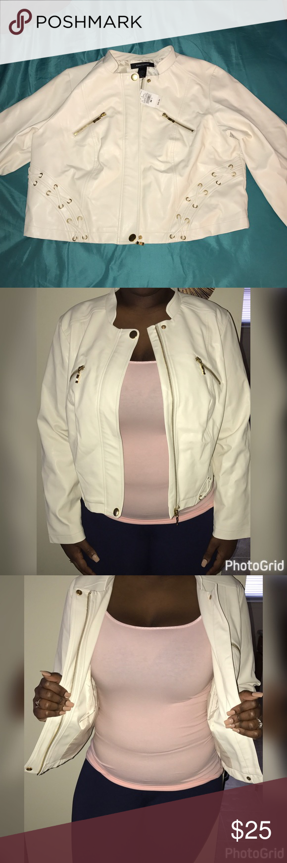 Leather jacket size 18 - Off White Faux Leather Jacket Size 18 Gold Zipper Details Never Worn Tag