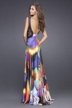 Vestido de fiesta de seda estampado