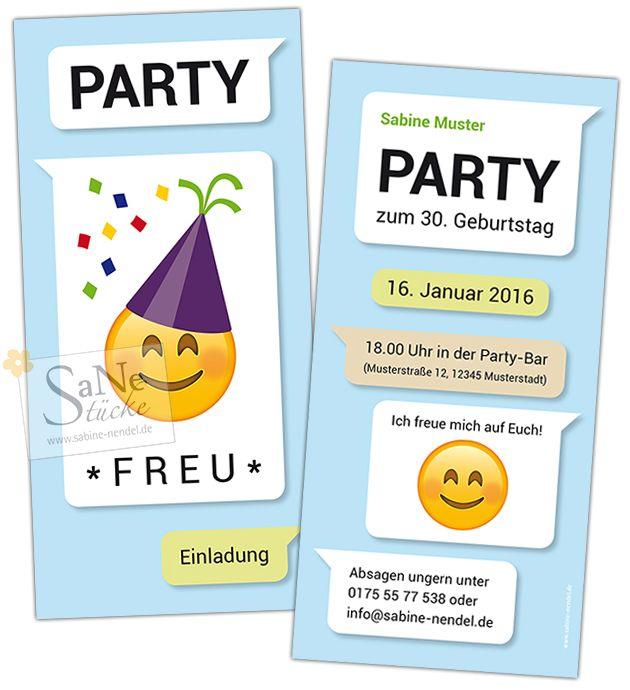 Witzige Einladung Zum Geburtstag Im Kurznachrichten Stil Mit Party Emoji.  Für Alle, Die