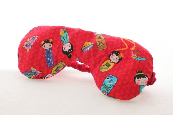 Lavender Eye Mask in Red Japanese Print by Scrapcycling on Etsy