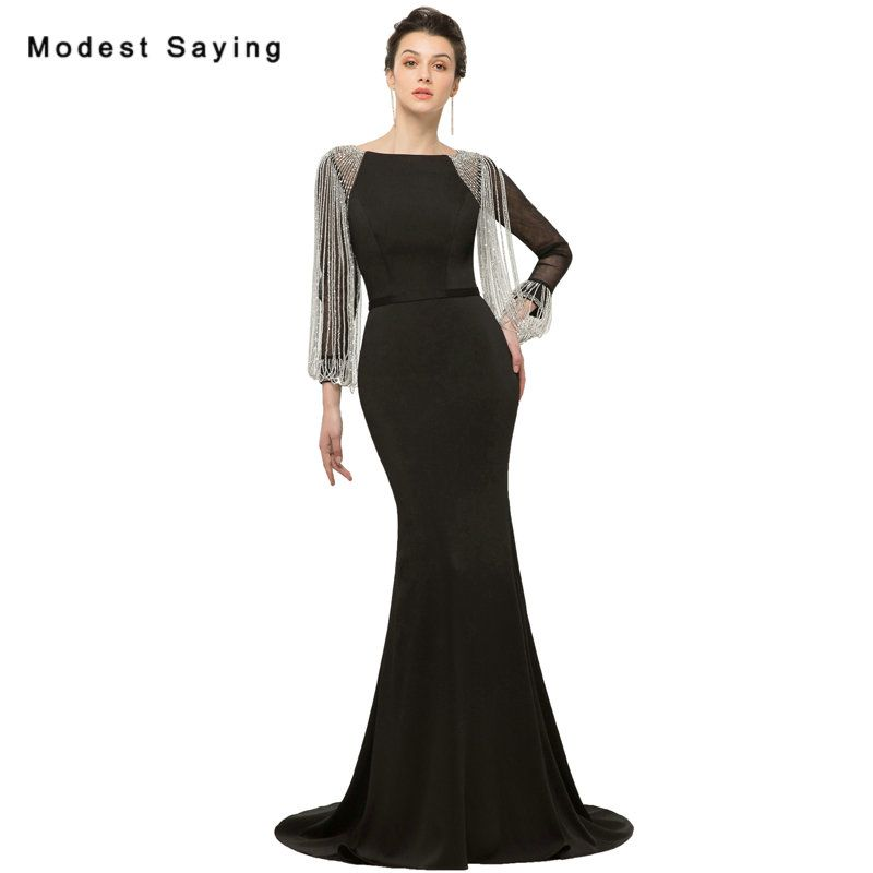 9b511b47f326f Find More Evening Dresses Information about Modest Black Mermaid ...