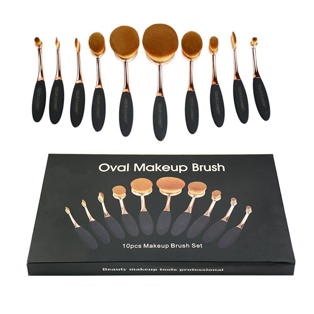 8ed72cb12df5 10pcs Makeup Brushes Soft Oval Foundation Brush, Professional ...