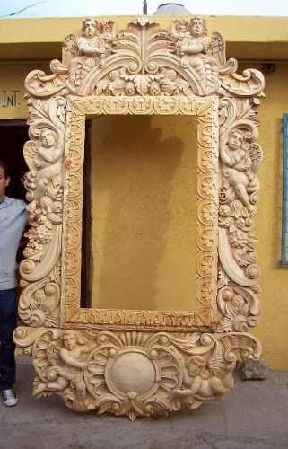 Marco tallado a mano artesanias mexicanas wood for Disenos de espejos tallados en madera
