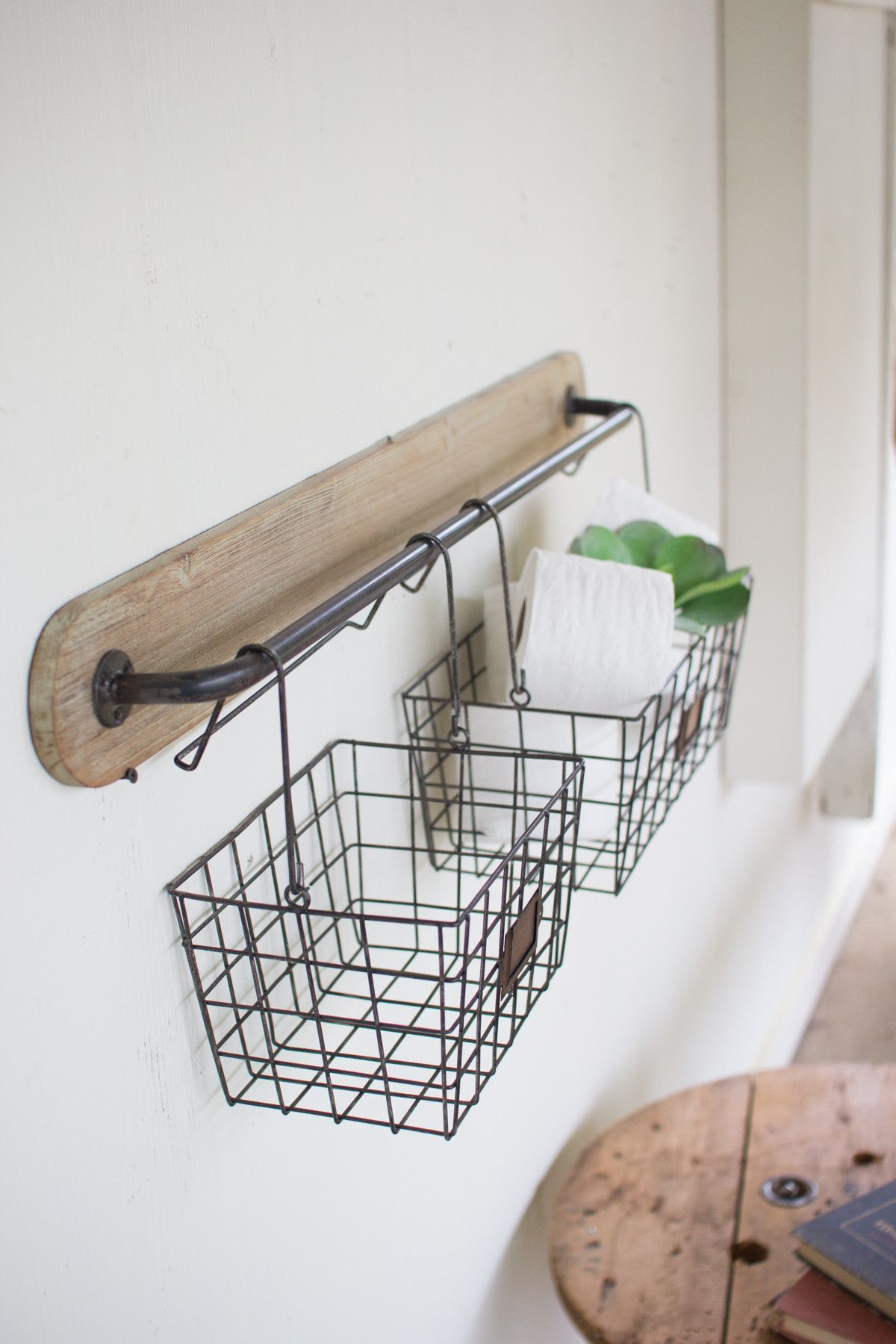 Bathroom wall storage baskets - Wood And Metal Wall Bracket With 2 Wire Baskets